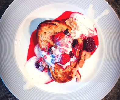 CEGS FRENCH TOAST WITH AQUAFABA & BERRIES